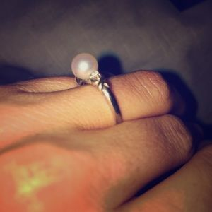 Jewelry - SOLD Pearl and Diamond Ring with Gold Accents
